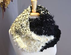 Black and Ivory Knit Infinity Scarf - Multitextural Novelty Fiber Hand Knit 'round' Scarf in Ivory, Ecru and Black by rockpaperscissorsetc on Etsy, $45.00