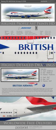 Boeing 747-400 British Airways   www.aviaposter.com   #airliners #aviation #jetliner #airplane #pilot #aviationlovers #avgeek #jet #sideplane #airport #Jumbojet