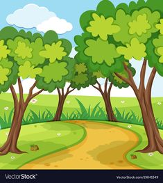 Background scene with trees in the park vector image on VectorStock Background Drawing, Background Pictures, Drawing For Kids, Painting For Kids, Colorful Drawings, Easy Drawings, Boite Explosive, Farm Coloring Pages, Cute Baby Monkey