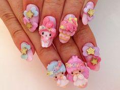 Kawaii Nails Glitter Nails, My Nails, Anime Nails, Really Cute Nails, Kawaii Nails, Barbie Life, Dream Nails, Cute Nail Designs, Cool Nail Art