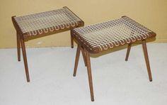 Paire de tabourets années 60 à assise en cordage, Long. 44 cm