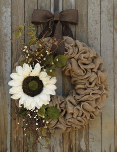 Ivory Sunflower Burlap Wreath--Fall Burlap Wreath--Sunflower Fall Wreath--Sunflower Burlap Wreath--Autumn Wreath--Sunflower Wreath by WhimsyChicDesigns on Etsy