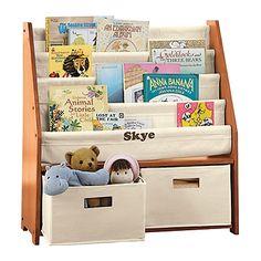 Kid's Canvas Sling Bookshelf with Storage Bins (espresso) for Jack's room.  www.onestepahead.com