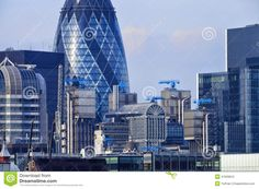 London Cityscape With Gherkin And Lloyd's Building Stock Photo ...