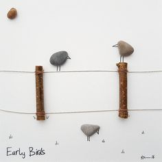 Early Birds is ready to ship (1-3 Business Days)  You will receive the work photographed above.  I like to work with natural and up-cycled materials, bringing life back to the ordinary and discarded.  The piece is presented in a white or black 23 cm (9) x 23 cm (9) frame.  See my other Ready to Ship items