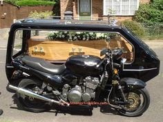 My dad will probably follow me now, because this is a motorcycle with a hearse sidecar