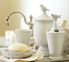 Of course I had to add some birds!    Ceramic Bird Bath Accessories | Pottery Barn
