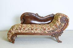 Orleans International - Antique Walnut Chaise Lounge Sofa