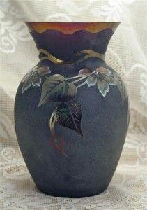 Fenton Ltd Ed Art Nouveau Vase Iridized Plum Satin Signed Hand Painted