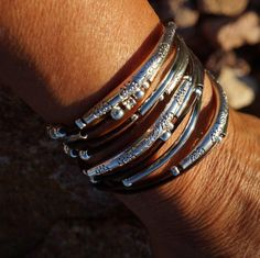 "Leather Wrap Bracelet, Boho ~ Endless Leather Wrap Bracelet - ""Bangles"", double layered wrap bracelet/necklace by fleurdesignz The Bangles, Boho Jewelry, Handmade Jewelry, Jewelry Design, Unique Jewelry, Handmade Leather, Jewelry Ideas, Jewlery, Bracelets Wrap En Cuir"