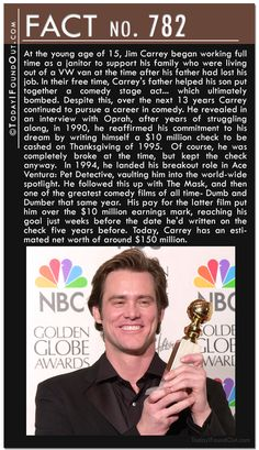 After years of struggling along, in 1990, Jim Carrey reaffirmed his commitment to his dream by writing himself a $10 million check to be cashed on Thanksgiving of 1995.  In 1994, he landed his breakout role in Ace Ventura. He followed this up with The Mask, and then Dumb and Dumber that same year.  His pay for the latter film put him over the $10 million earnings mark. Today, Carrey has an estimated net worth of around $150 million.