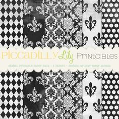 Grungy Fleur Damask -- 12x12 Digital Printable Scrapbook Paper Pack Black White -- Buy 3 Digital Paper Packs Get 1 FREE. $3.00, via Etsy.