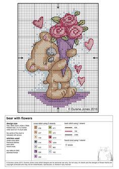 Bear with flowers #CrossStitch #Teddy #pattern #free #PuntoDeCruz by Durene Jones