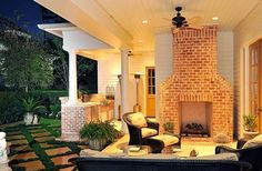Outdoor Fireplace and Living Area
