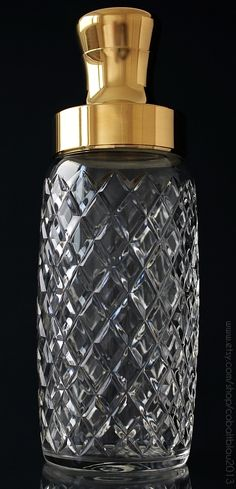 Cut Crystal & Gold Cocktail Shaker | Available at https://www.etsy.com/listing/238370644/cut-crystal-cocktail-shaker-gold-plated?ref=shop_home_active_2