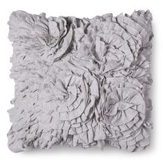 "Find product information, ratings and reviews for Gray Jersey Ruffle Square Throw Pillow (16""x16"") - Xhilaration™ online on Target.com."