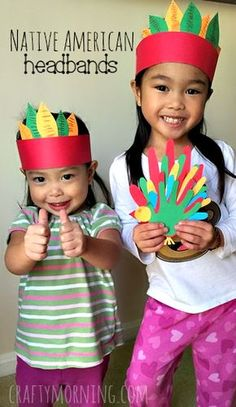 Easy Native American Headbands #Thanksgiving craft for kids to make | CraftyMorning.com