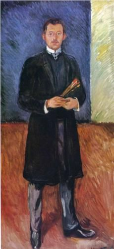 Self-Portrait with Brushes - Edvard Munch