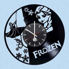 Frozen HANDMADE vinyl record modern vintage wall gift clock gift art home decor #Handmade #vintagerecords