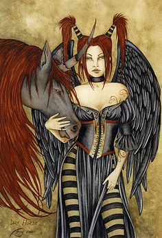 Amy Brown Dark Horse Print -- Limited Edition Plus Magical Creatures, Fantasy Creatures, Amy Brown Fairies, Dark Fairies, Betty Boop Pictures, Fairy Pictures, Unicorn Art, Horse Print, Fairy Art