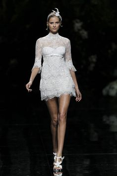 Chic, lace, mod inspired short wedding dress!  Manuel Mota for Pronovias Bridal 2013