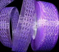 "2 Yards Solid Purple Criss Cross Lattice Pattern Sheer Wired Ribbon 1 1/2""W"