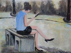 Woman reading a book by Maria Karalyos An original #oil #painting
