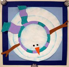 Bird's Eye view snowman make with chalk pencils. Great website: artwithmsgram.com