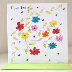 Carte colorée peinte à la main - carte anniversaire fait main - carte maîtresse --