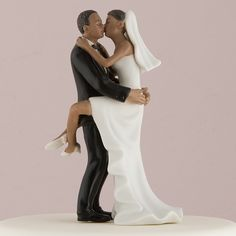 Top your cake with a symbol of newlywed romance. This stylish figurine includes a groom in a black tux, kissing his bride in her white. Bride And Groom Cake Toppers, Wedding Cake Toppers, Wedding Cakes, Wedding Kiss, Wedding Couples, Dream Wedding, Wedding Ideas, Fall Wedding, Black People Weddings