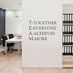 Cheap decal wall, Buy Quality decal sticker directly from China decorative furniture decals Suppliers: Team work Motivational Wall quotes Sticker,Inspirational words poster vinyl decal for Office decor Corporate Office Design, Office Interior Design, Office Interiors, Business Office Decor, Professional Office Decor, Medical Office Interior, Office Wall Design, Interior Design Quotes, Medical Office Design