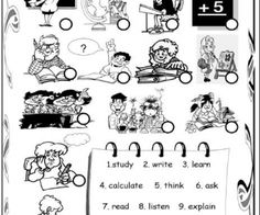 Classroom Verbs Matching Activity