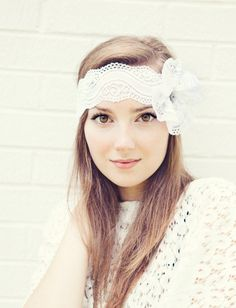White Lace Headband with Flower Bow and by BglorifiedBoutique,