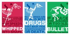 A series of posters for the Peta campaign against horse racing. The objective was to raise awareness of the negative aspects of the horse racing industry. The stylized horse skeleton is a portrayal of the horses' race to the grave. Each poster focuses on a different issue (abuse, steroids, and slaughter). Each skeleton is made up of imagery pertaining to that specific issue. Dimension: 11inX17in
