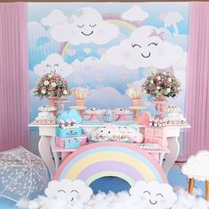 Rainbow Birthday Party, 4th Birthday Parties, Rainbow Decorations, Birthday Decorations, Baby Girl Shower Themes, Baby Shower, Cloud Party, Christmas Classroom Door, Inspiration