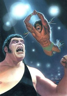 I exaggerated the action a little I don't think Ultimate Warrior was this much of a high flyer, but I wanted . Andre the Giant vs Ultimate Warrior Wrestling Stars, Wrestling Wwe, Wwe Pictures, Andre The Giant, Wwe Wallpapers, Wrestling Superstars, Wwe Wrestlers, Professional Wrestling, Sports Art