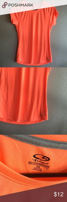 Champion Neon Orange Semi Fit Top Bright neon orange workout shirt. Dry fit Champion Tops
