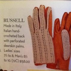 Horse Country deerskin gloves with crocheted back. Great for the summer.