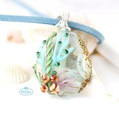 Light blue sea inspired pendant, Coral reef, Marine life jewelry, One of a kind handmade lampwork glass bead necklace Sea Glass Necklace, Beaded Necklace, Beach Jewellery, Jewelry, Marine Life, Lampwork Beads, Sterling Silver Chains, Glass Beads, Light Blue