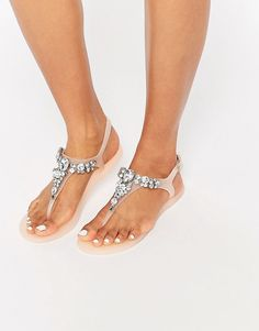 Image 1 of Lipsy Gloss Nude Embellished Jelly Flip Flops
