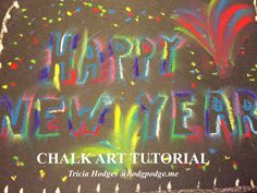 Oh there are so many possibilities with this Happy New Year Chalk Art Tutorial! You can write 'Happy New Year' or simply '2016' – even 'Celebrate!' Have you noticed that we've been using black construction paper often lately? It just shows off the beautiful chalk colors! Plus I think construction paper simply 'holds' the chalk pastels so well. Remember how Nana has taught us –