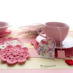 Flowers tea Bag and pink coaster