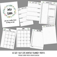 A5 Size July 2015 Planner Inserts for Kikki K by LittlePinkPlanner