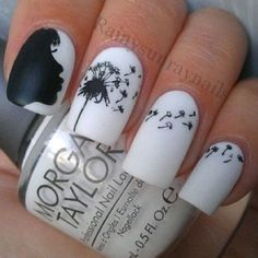 .@ig_fashion_ | Girl Blowing Dandelions - Black and White #nailart #nails
