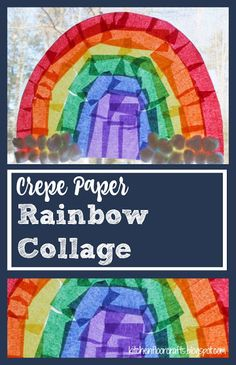 Kitchen Floor Crafts: Crepe Paper Rainbow Collage