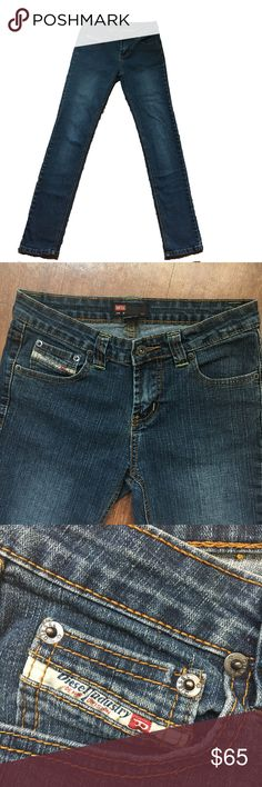 """DIESEL Brand Skinny Jean Size 28 Inseam 31"""" Dark wash skinny Diesel Brand Jean. Back Leather Patch has been partially removed, likely for purposes of resale. Size 28, Inseam, 31. Diesel Jeans Skinny"""