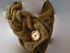 Knitted Brown Cable Cowl Womens Scarf by CherylsKnits on Etsy, $40.00