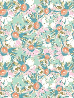 Wild Daisy Fabric - Mint - Organic Cotton Panama / Meter