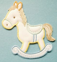 Rocking Horse Cream/pastels Embroid Iron On Applique
