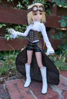 Minifee Gold Class Steampunk outfit set for MSD BJD by Rhiella